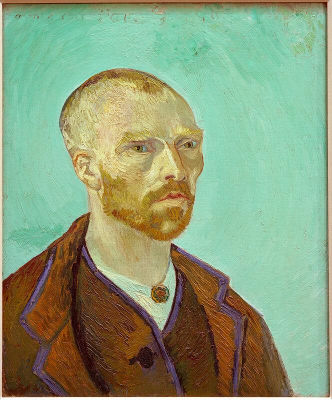 """Gogh, Vincent van holländ. Maler Groot-Zundert bei Breda 30.3.1853 – (Selbstmord) Auvers-sur-Oise 29.7.1890. – """"Selbstbildnis, Paul Gauguin gewidmet"""", Arles, um den 16. September 1888. Öl auf Leinwand, 61 × 50 cm. Inv. 1951.61 Nachlass aus der Sammlung von Maurice Wertheim,"""
